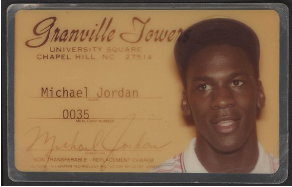 "paulkatcher:  Via Darren Rovell on Twitter: ""Michael Jordan's UNC ID, sold last March for $5,500"""