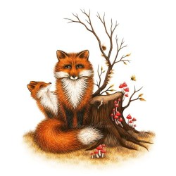 """This little fox and her cub is available to pre-order! 'Fox & Fungi' fine art giclee prints on archival cotton rag paper are available in two sizes. The original size 12"""" x 16"""" inch and slightly smaller 8"""" x 12"""" inch, for those of you foxy lovers with limited wall space! staceymaree.bigcartel.com"""