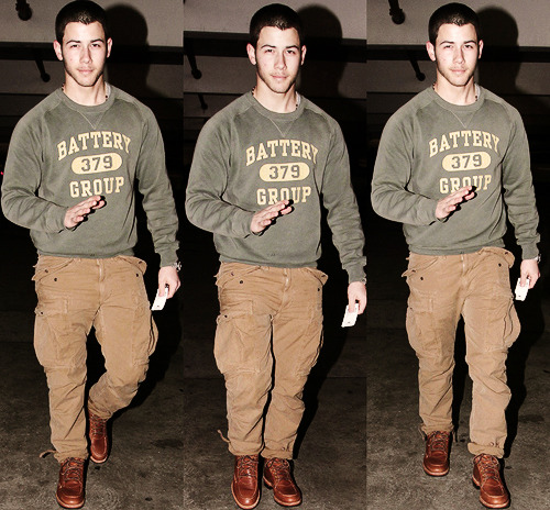 Favorite looks on Nick Jonas → Catching a movie at Arclight