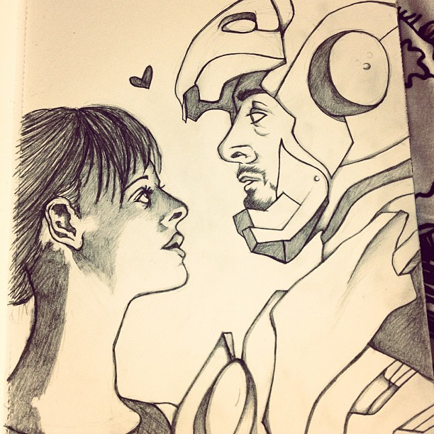 Sketch done! Paint this weekend! #ironman #tonystark #marvel #comics #superheroes #sketches #doodles #artwork #instaartist #art #pepperpotts