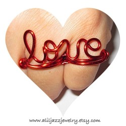 Red Love Two Finger Ring by www.aliljazzjewelry.etsy.com #fashion #jewelry #style #love #instacollage