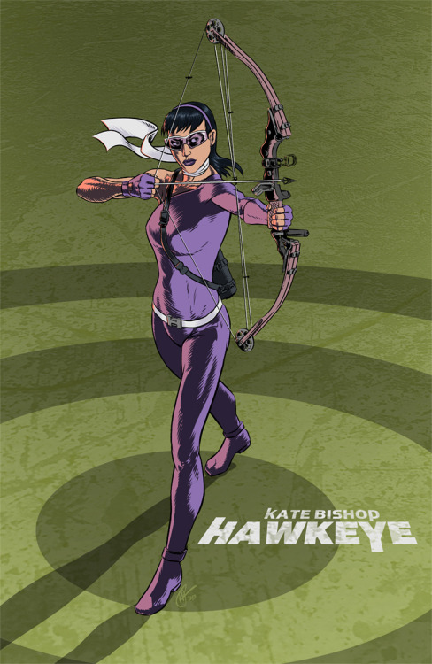 mickeyrossi:  Switching back to digital ink. Kate Bishop, the other Hawkeye.