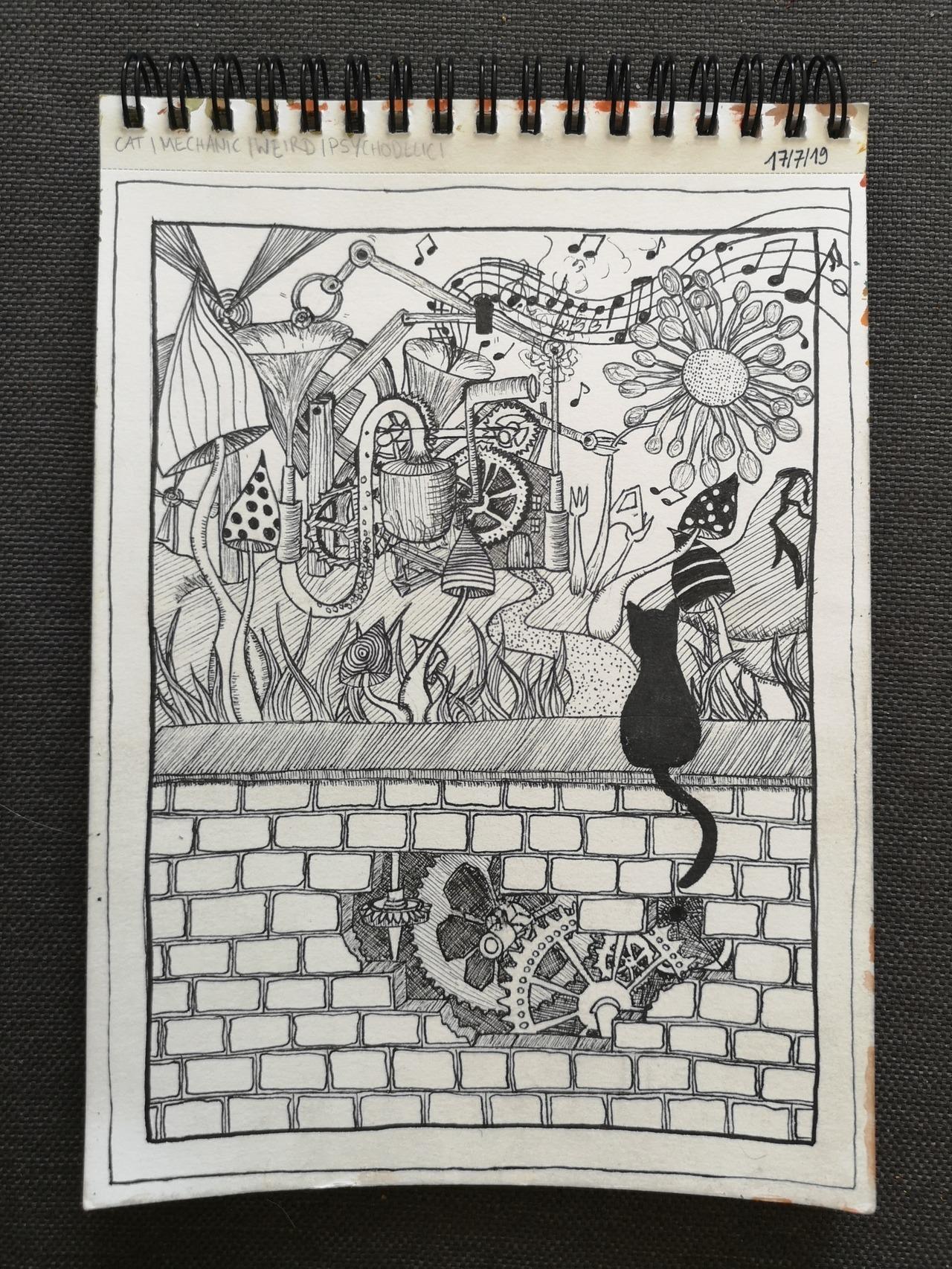 'Junkbox' #graphic#artontumblr#artoftumblr#fineliner#finelineart#finelinework#details#cat#catlover#flowerpower#gear#mechanic#psychodelic#mushrooms#trippy#weirdo#creative#lolaleilani