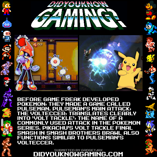 didyouknowgaming:  Pokemon and Pulseman.  http://bulbapedia.bulbagarden.net/wiki/Volt_Tackle_(move)