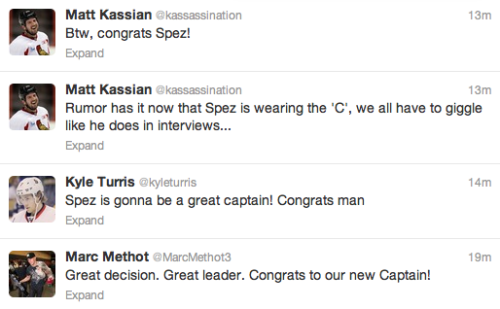 Congratulations to Jason Spezza on the captaincy!