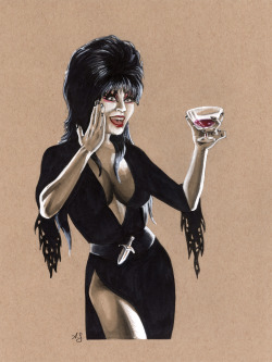 thehappysorceress:  Elvira by Allison Sohn For The Big Wow art auction
