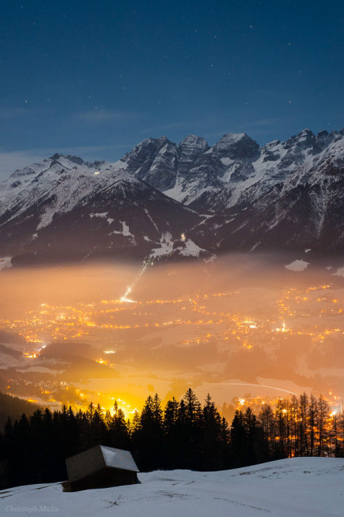 Alps Moonlight      The Austrian Alps in Tyrol are softly illuminated by moonlight in this clear January night.      The iconic part of constellation Pisces, the two fish, are framed above the mountains, a pentagon of stars just south of Pegasus that shows the western fish.      It is an asterism known as the circlet, famous for marking the Vernal Equinox point, where the sun is located at the beginning of spring (in the northern hemisphere).      Down on the ground peaks from the left to right are Hoher Burgstall (2611 m), Schlicker Seespitze (2804 m), Riepenwand (2774 m), Grosse Ochsenwand (2700 m), and Kleine Ochsenwand (2553 m). Villages Fulpmes and Mieders appear in the valley. — Christoph Malin