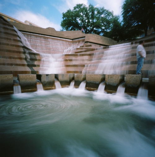 "The Active Pool - Pinhole on Flickr.Via Flickr: The Active Pool of the Fort Worth Water Gardens downtown, as captured by my Zero Image pinhole.  This pool was used in the '70s film adaptation of ""Logan's Run"" as a power facility."