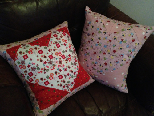 Left over heart patches came in handy when I made these cushions. X