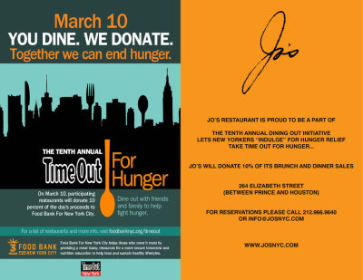 Come Support Jo's Restaurant on Sunday March 10th, we will be donating 10% of our Brunch and Dinner sales to The New York Food Bank