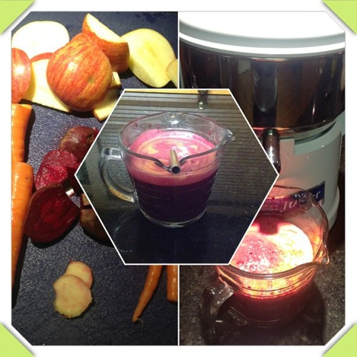 This mornings juice: apple, beet, carrot and ginger. Straight up nutrients! #juicing #nutrition