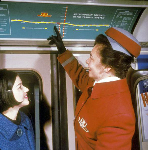 Historical Photo: TTC Subway Map on the Opening of the Bloor-Danforth Line (1966) You know, I can pretend I'm interested in the subway map in the background, but this photo is all about the awesome uniform the TTC staff member is wearing, so let's just go with that. (Source: @CongestedTO on Twitter)