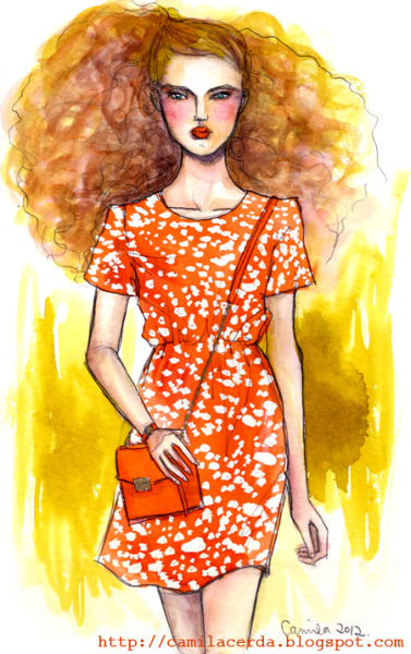 *A tint of orange* Marc by Marc Jacobs SS 11 Watercolor, ink pen Illustration by Camila Cerda