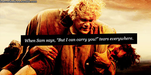 "lotrconfessions:  When Sam says, ""But I can carry you!"" tears everywhere."