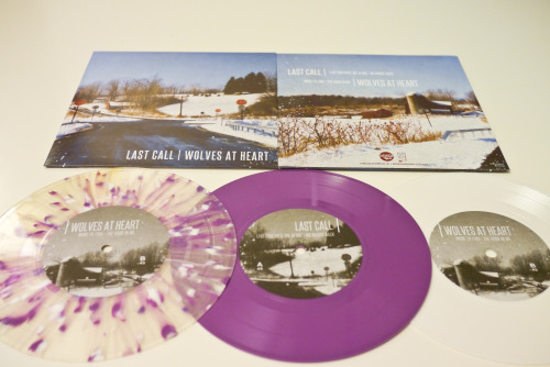 wolvesatheart:  all 3 colours of the Last Call / Wolves At Heart split 7""