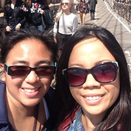 Tracy and I on the Brooklyn Bridge #libznyc  (at Brooklyn Bridge)