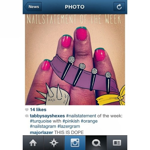 Yeah, @majorlazer thinks my nails with the #lazergram  are dope. DOPE, MY MAN! Thank youuuuuuu!