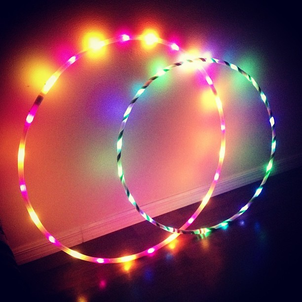 "Moodhoops Fruity and Muse beautiesandbongrips:  My led hoops :) 38"" Fruity hoop and 34"" Muse hoop. #moodhoops #hooping #hulahoop #ledhoop"