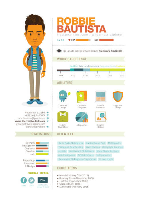 2013 Curriculum Vitae by Robbie Bautista on Behance) I love the RPG elements in this.