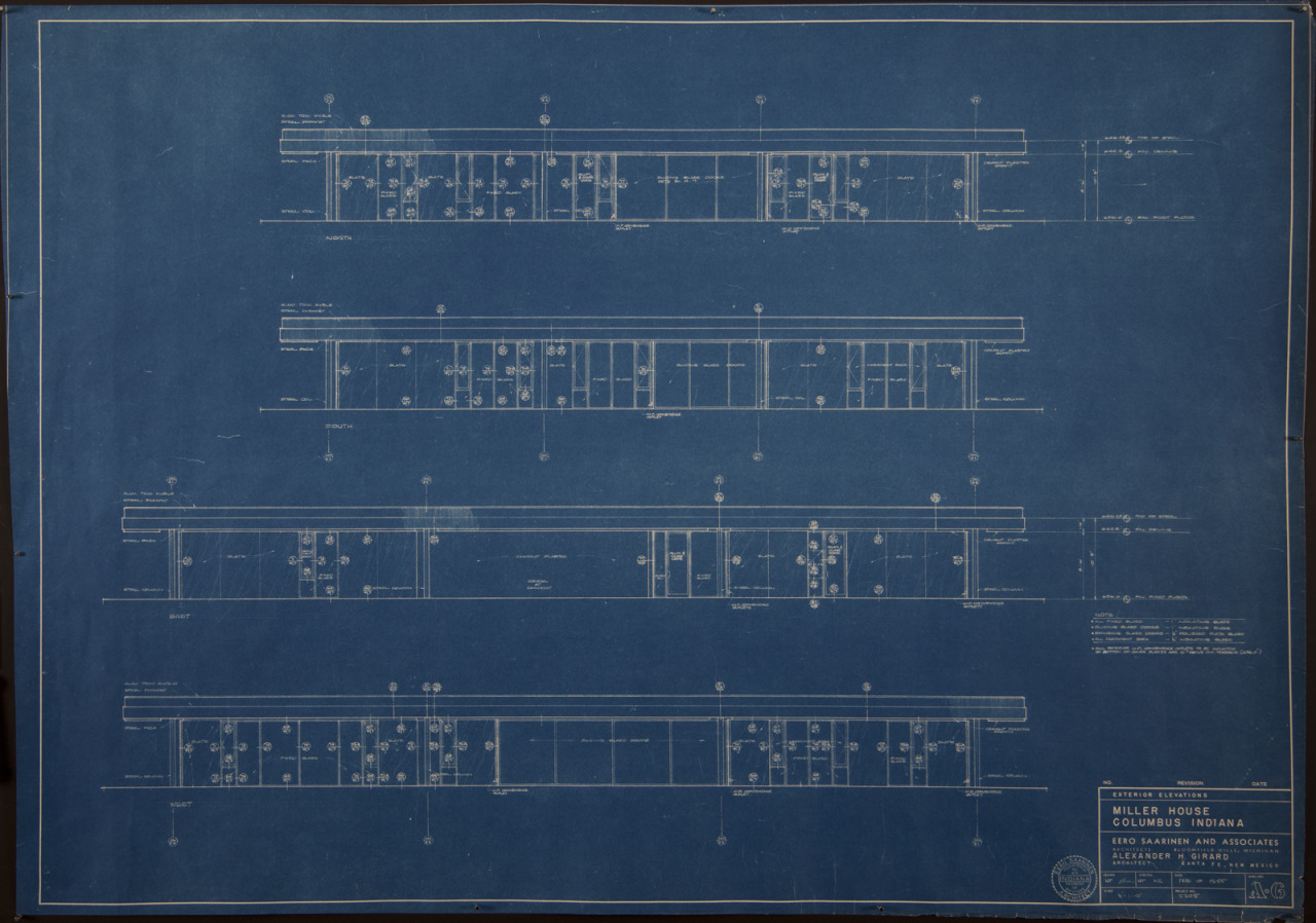 Blueprint (29 x 41 in.) of Sheet Number A-6, Miller House Exterior Elevations by Eero Saarinen and Associates and Alexander H. Girard, 18 February 1955, FF41, Miller House and Garden Collection, IMA Archives, Indianapolis Museum of Art, Indianapolis, Indiana. (MHG_III_FF041_012)