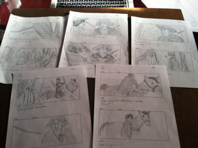 First 5 pages of my storyboard assignment. We had to analyze and board a scene from a specific genre.  I chose Tim Burton's Sleepy Hollow.