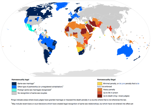 explore-blog:  Mapping LGBT rights by country. Also see this map of LGBT rights in the American workplace and the Guardian's stellar visualization of LGBT rights by state. Pair with The Politics of Homosexuality, the seminal 1993 article that turned the tide.
