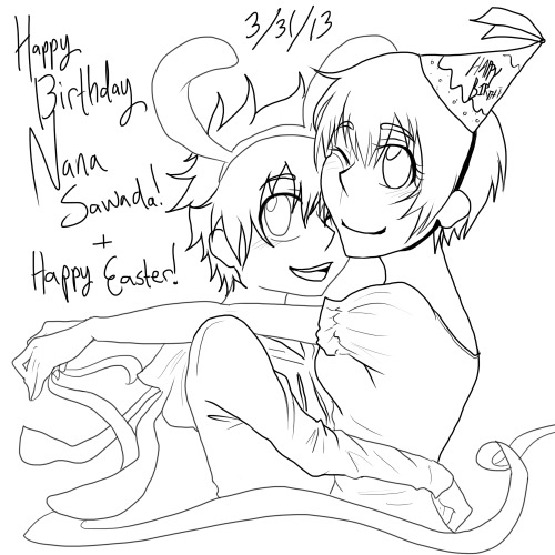 xskyward:  Happy Birthday, Nana Sawada! (+Happy Easter 2013)