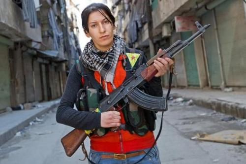 Iraqi Kurdish female guerilla.