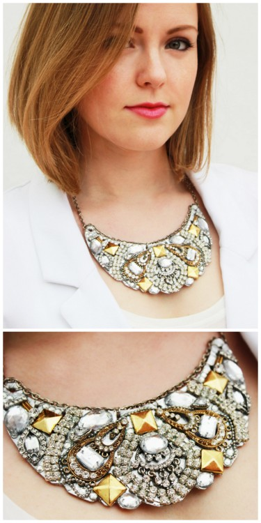truebluemeandyou:  DIY Recycled Jewelry Bib Statement Necklace Tutorial from Plan B Anna Evers here. I don't post many DIY bib necklaces on my blog because I think a lot of them look cheap and like big jewel encrusted baby bibs. But I love this one.