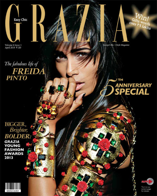 Grazia India, April 2013, cover (+) photographer: Tarun Vishwa Freida Pinto