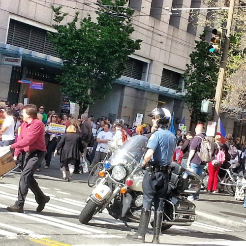 #mayday in #downtown #seattle. Not as crazy as last year but these groups are FAT. Hella #cops too