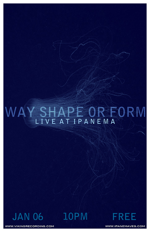 Way, Shape, or Form from the Subterranea Collective will be playing at Live @ Ipanema tomorrow (Sunday, 1/6) night.  This looks to be a really cool show and you should make sure to arrive early to get a good spot.  This may be one of the most popular installments of the Live @ Ipanema.  As always, the performance will be recorded by engineer Allen Bergandahl and photographed by PJ Sykes.  10 pm, FREE!  photo by Sarah Gatrell