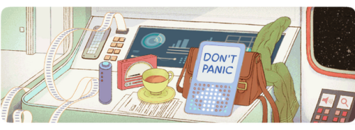 Google celebrates Douglas Adam's 61st birthday with an interactive Doodle. There's even an Easter egg at the end of the game. Hint: It answers the meaning of life!