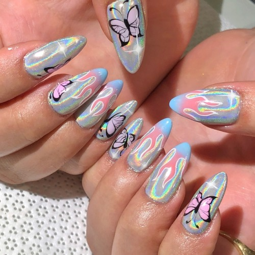 fire flames animal nails butterflies flame nails fire nails nail art art handpainted vanity projects miami round tips @nycchiaranails holo nails holographic holo holographic nails nail blog cute nails
