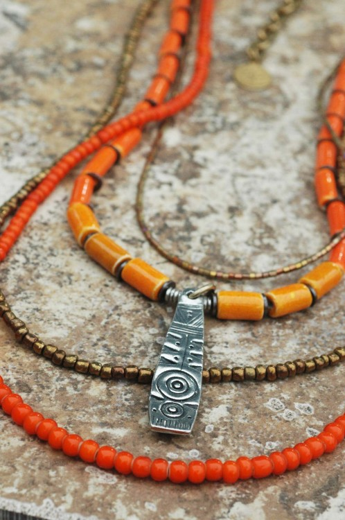 Long Tango Tangerine Necklace: Brilliant Orange and Bronze Layered Everyday Shield Pendant Necklace