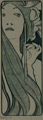 poboh:  Pencil, 1890-1900, Alfons Maria Mucha. (1860 - 1939)