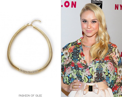 fashionofglee:  Becca Tobin attends the Nylon Young Hollywood Issue Party, Hollywood, May 14, 2013 Thanks fybeccatobin! Nicole Meng Jewelry Starry Pave Necklace - $130.00 Worn with: Jimmy Choo sandals