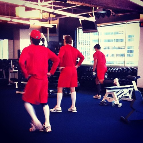 #Caps Jay Beagle, John Carlson and Mike Ribeiro working out at KCI.