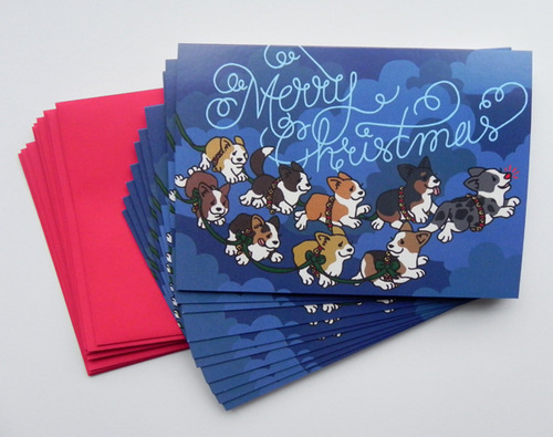 The reindeer corgs are here! New greeting cards in my Etsy shop! Available individually as well as in packages of 10.