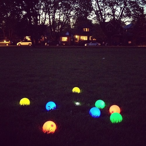 saidthewhale:  Glow Bocce. Summer has come early this year in Vancouver.  I WANNA PLAY
