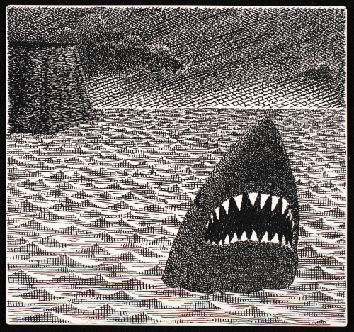 scottespeseth:  Shark! Ink on Paper Scott Espeseth  Original post