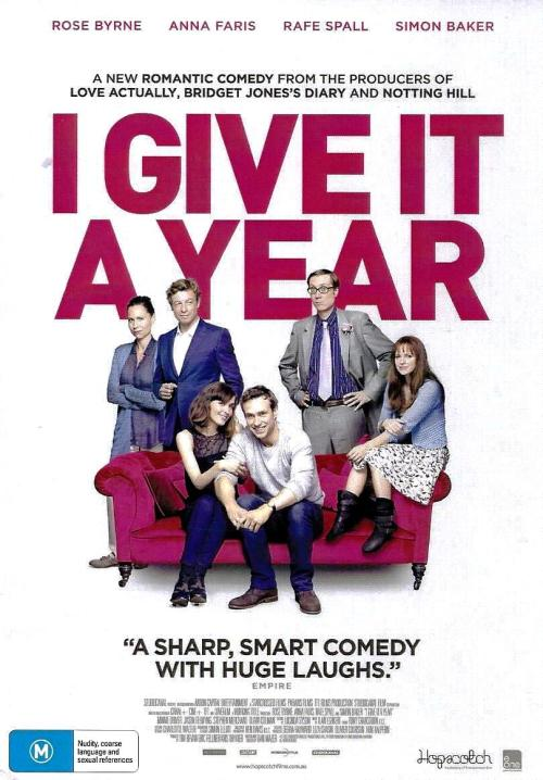 "I Give It A Year         In Australian Cinemas 28th February – no distribution as yet for USA A Romantic Comedy from the Producers of Love Actually, Four Weddings & A Funeral, Notting Hill and Bridget Jones Diary (Working Title Films), is  laugh out loud funny, awkwardly cringeworthy, and just plain good fun! The movie starts with our lead couple (Australia's Rose Byrne & Raf Spall (One Day)) in a whirlwind romance, and them standing at the alter getting married, cut to the sister saying - I Give It A Year! We have our film title! What if you had to spend the rest of your life with someone who always got the lyrics of a song wrong, or was awkward at inappropriate moments, or who just didn't make you feel comfortable - what if his friends are worse than him, what if you found someone that was the perfect person, but you were married…. This is where we see both Anna Faris and (Australia's)Simon Baker both come into the storyline, while there is a few flat spots, but the laugh out loud hilarity far surpasses and makes up for all of those… and if you ever meet a guy with a best friend like Stephen Merchant RUN!!!! Watch the clip of his best man speech to see why! http://www.digitalspy.com.au/movies/news/a451681/stephen-merchant-funny-best-man-speech-in-i-give-it-a-year-video.html ***SPOILER ALERT*** And as for poor Raf Spall… as an actor he has delivered almost the same line in 2 films ""One Day"" and this one (I Give It A Year) when he has found out the woman he married is not in love with him…the line -  'Her face lights up when she's with you'  your heart will also break just a bit when he discovers he's not the one, some guys are just unlucky in love… or movies :) Release Dates Ireland UK  8th February 2013 Netherlands 21st February 2013 Australia New Zealand Hungary 28th February 2013 Russia 7th March 2013 Swedan 15th March 2013 Iceland 27th March 2013 Belgium France 10th April 2013 Denmark 11th April 2013 Germany 1st May 2013 This movie is definitely worth seeing!"