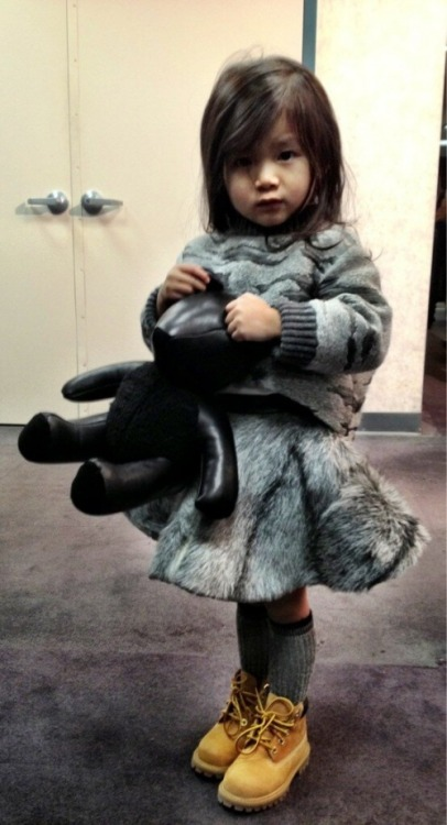 "more Aila Wang…Alexander's adorable niece + cutest little fashionista at #NYFW 2013…wearing teeny-tiny 6"" Wheat Timberlands + custom Alexander Wang.#jadore~ {Source: godsavesispend.com}"