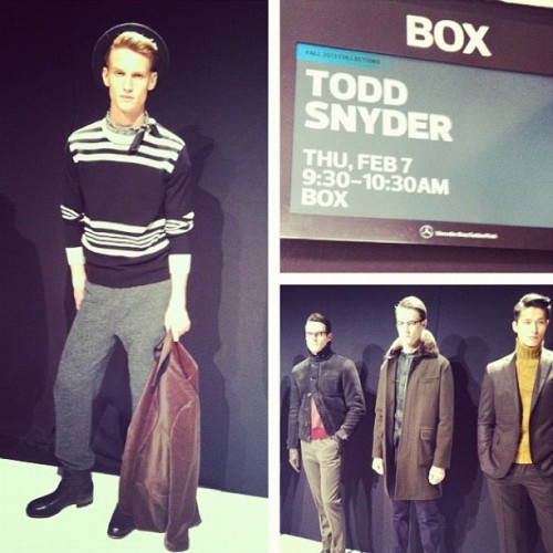 We picked up on leather layering, camel, cuffs, and pony hair at Todd Snyder's NYFW presentation today.