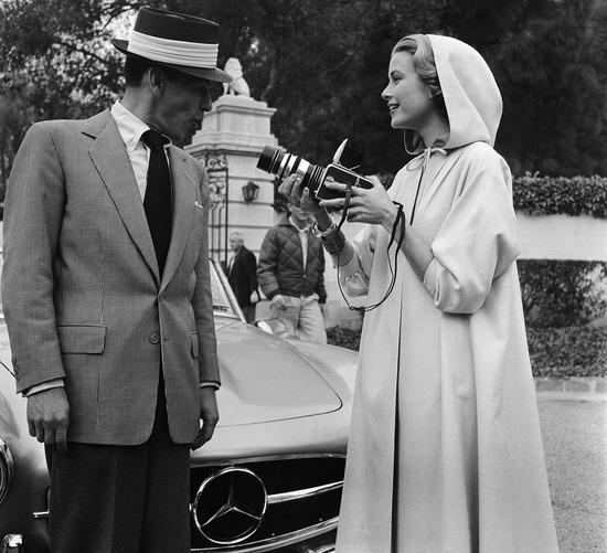 theniftyfifties:  Grace Kelly filming Frank Sinatra, 1950s.