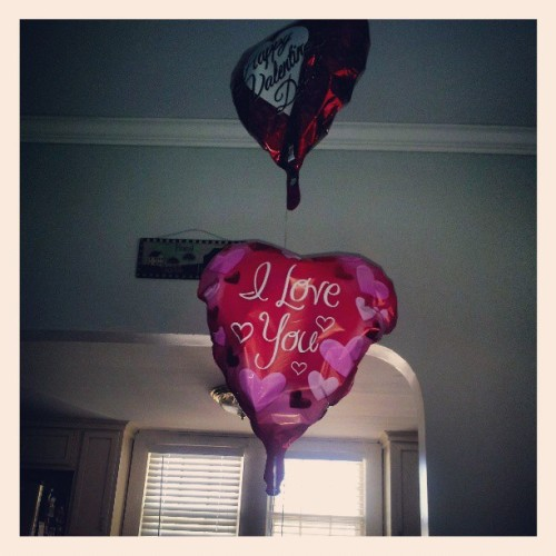 Konnie got me these balloons for Valentines day!. Still in the air! #crazy #love