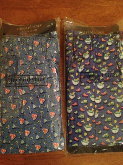 Obviously I had to buy Matt these Vineyard Vines boxers. Left: martinis and steak. Right: guacamole, chips, and hot peppers. Really, I just had to buy the guac boxers. The martini ones were just a bonus thrown in by the frenzy of online shopping.