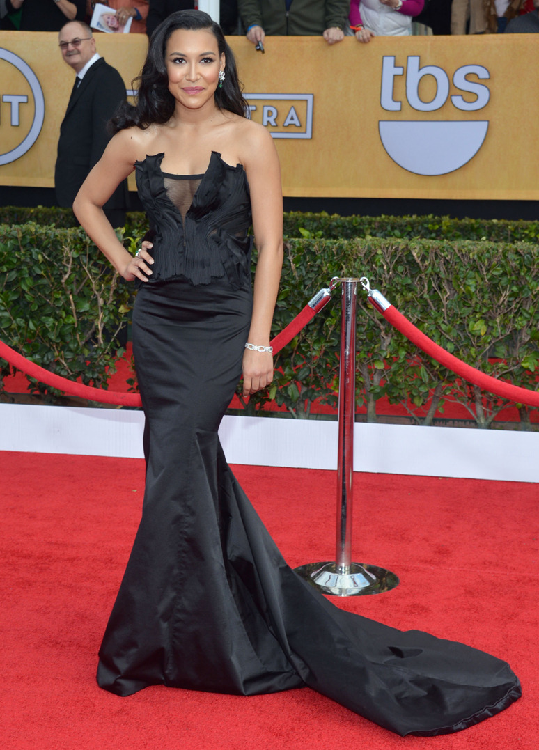 NAYA RIVERA Actress Naya Rivera wore a custom made Donna Karan Atelier gown to the 19th Annual Screen Actors Guild Awards at The Shrine Auditorium on January 27, 2013 in Los Angeles, California. Credit: Larry Busacca/WireImage