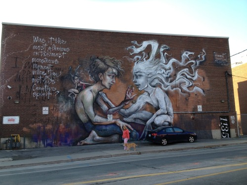 In Toronto by Herakut 2012. The sheer size of the piece on nice busy street makes this a real icon for this funky corner.