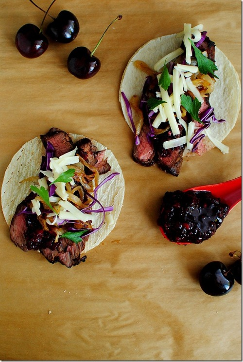 otfood:  Steak Tacos with Chipotle Cherry Salsa